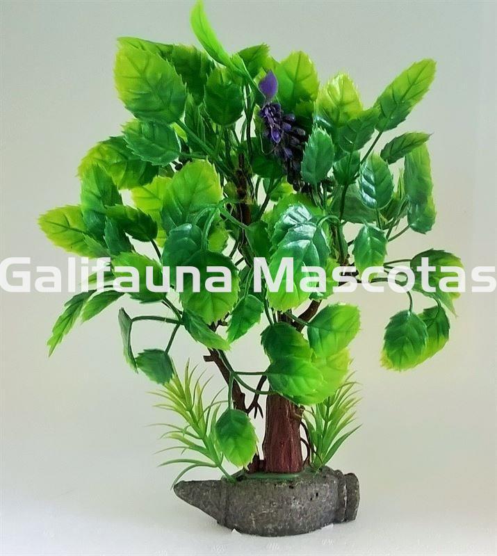 Planta arbol frondoso de plástico 25 cm para acuario Varios
