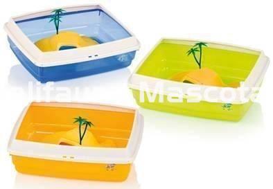 Tortuguera grande de plastico con isla libre y palmeras - Palmeras de plastico ...